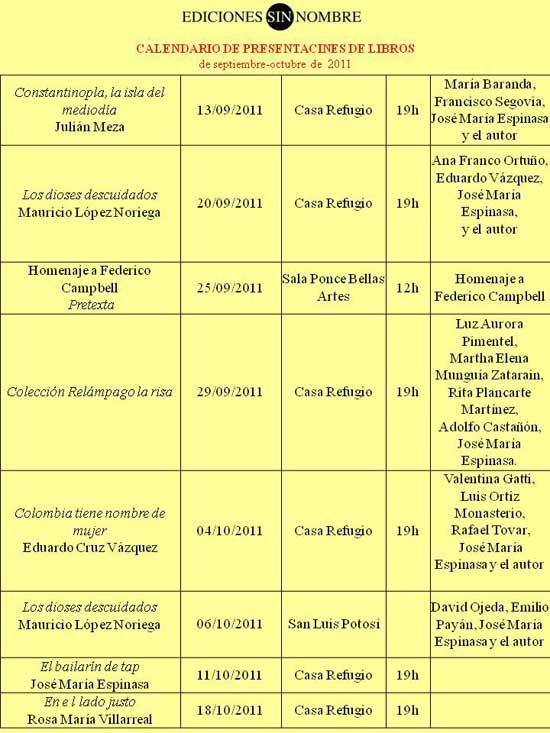 Calendario presentaciones de libros